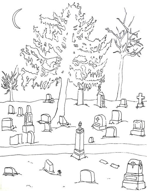 Cemetery coloring #1, Download drawings