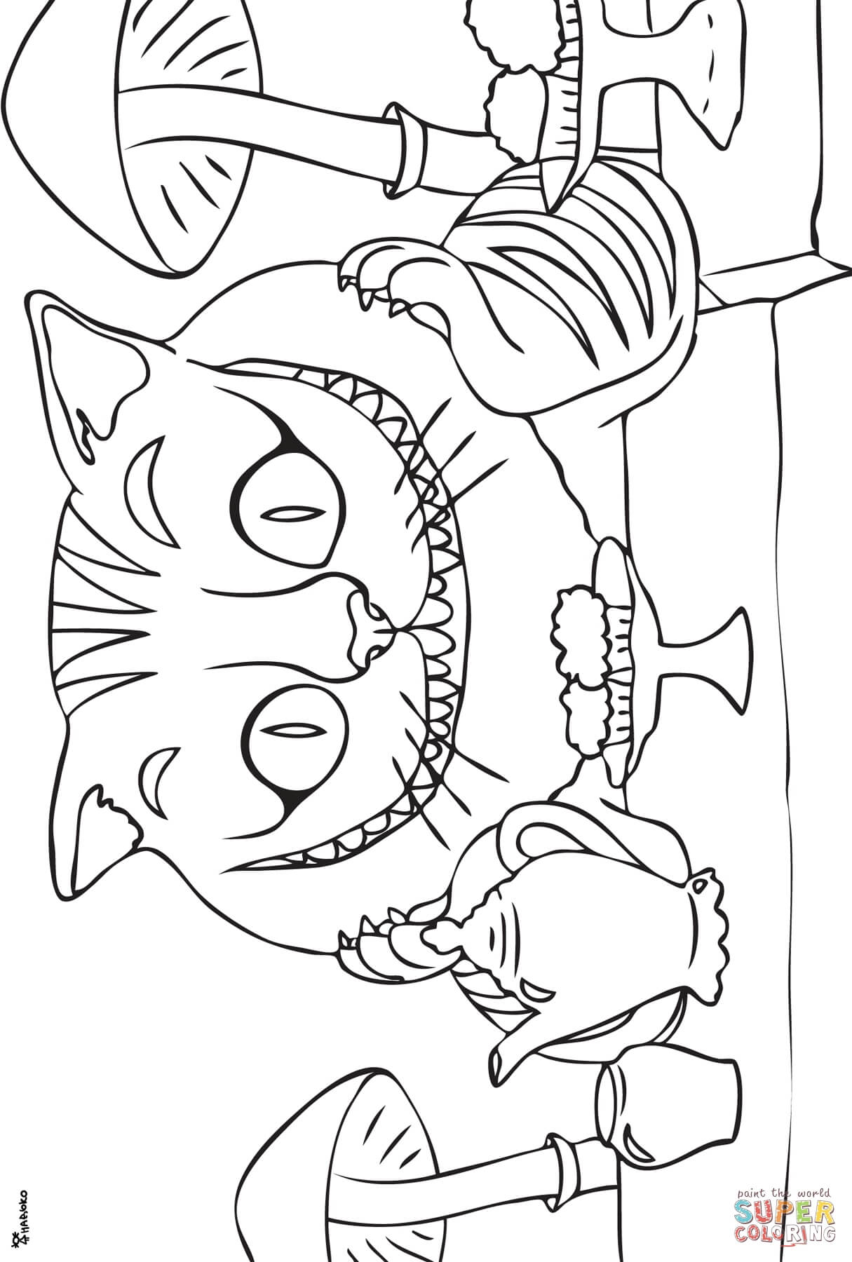 Cheshire Cat coloring #7, Download drawings