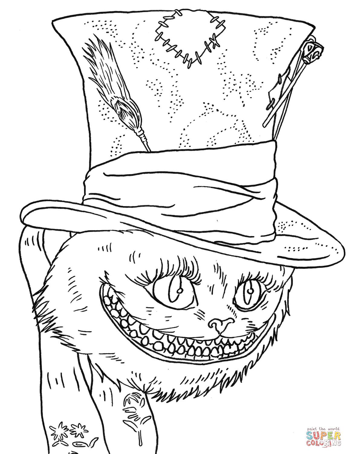 Cheshire Cat coloring #11, Download drawings
