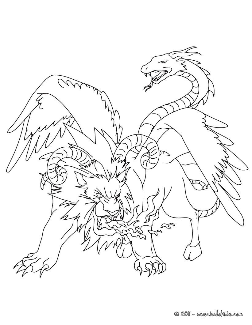 Chimera coloring #4, Download drawings