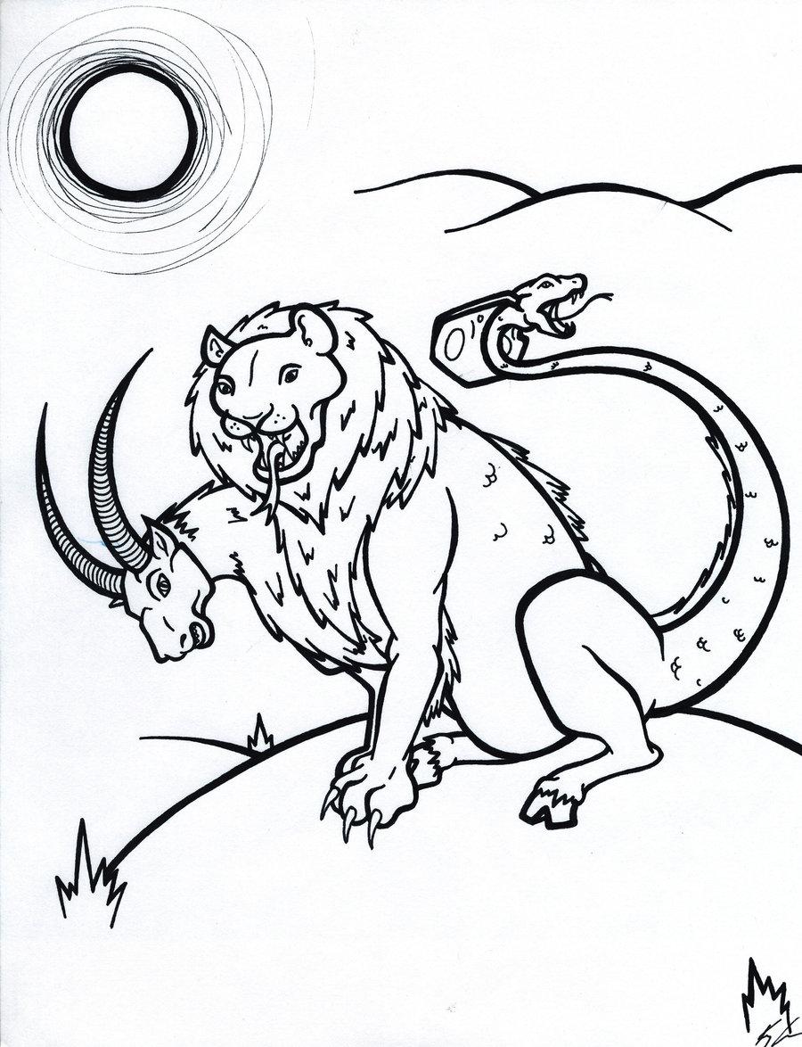 Chimera coloring #3, Download drawings