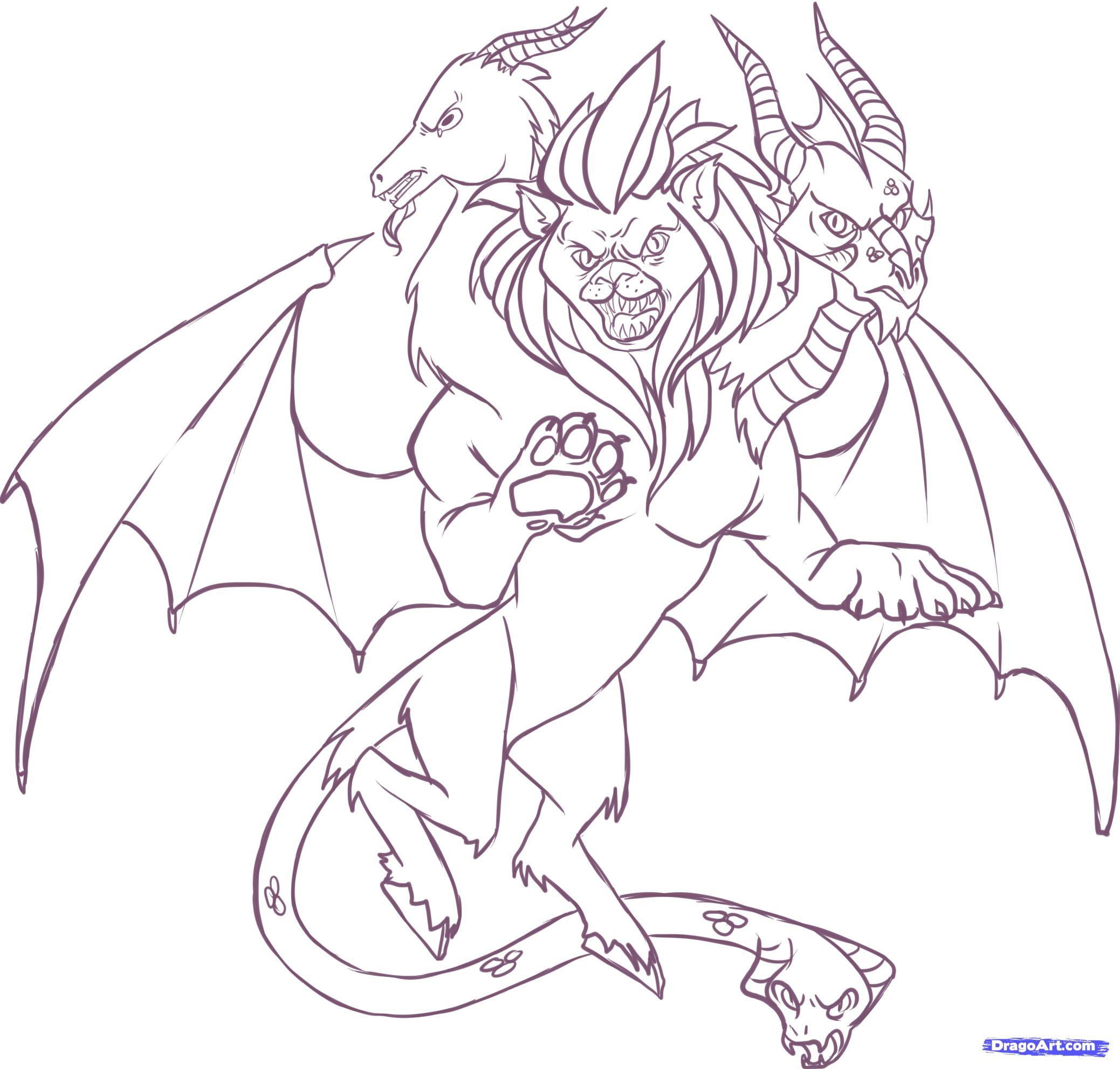 Chimera coloring #12, Download drawings