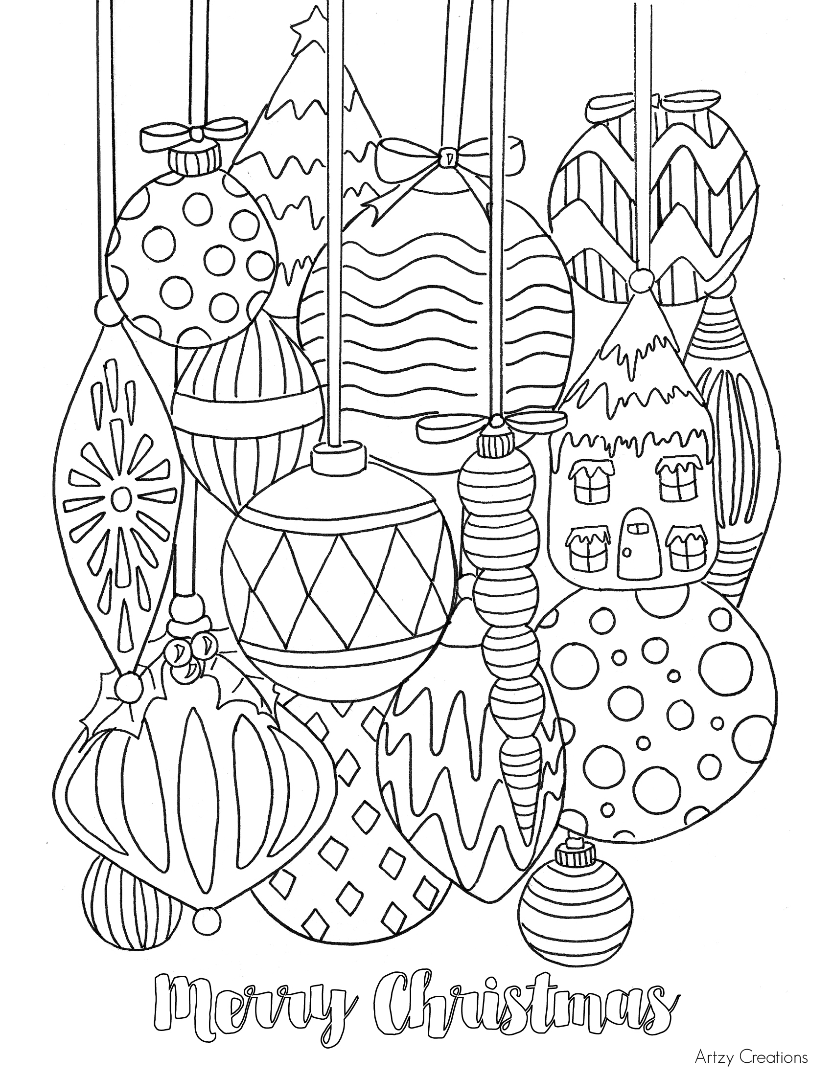 Christmas Ornaments coloring #1, Download drawings