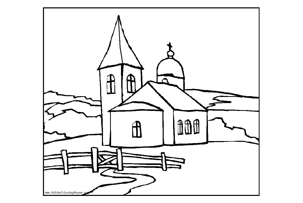 Church coloring #4, Download drawings