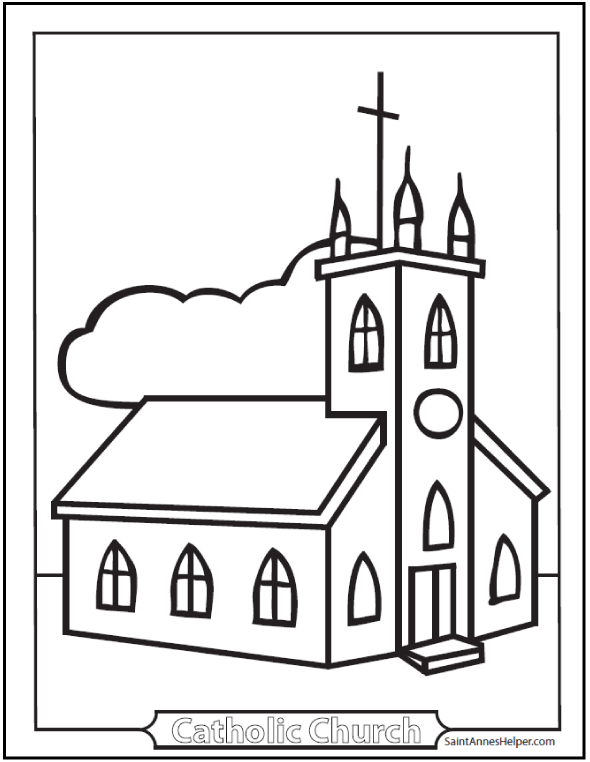 Church coloring #16, Download drawings