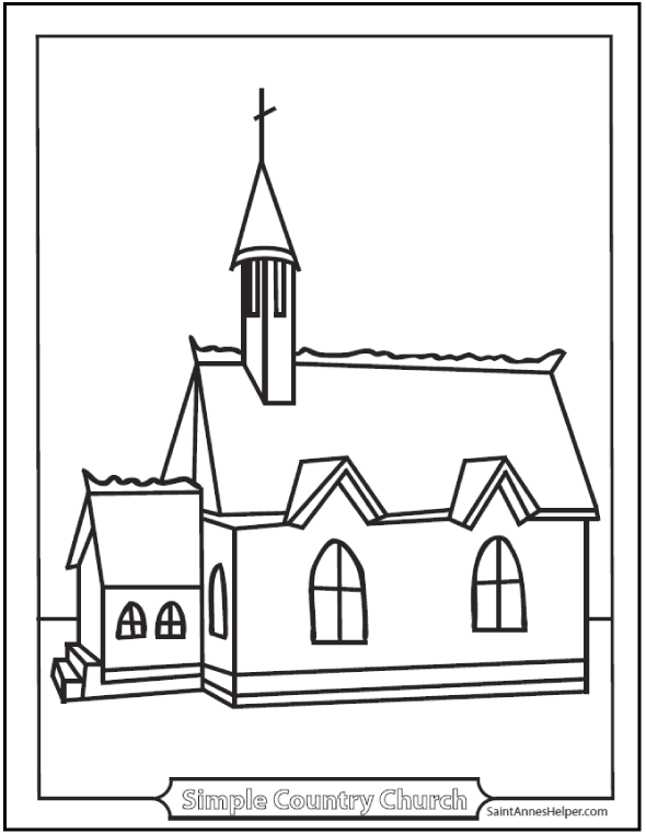 Church coloring #13, Download drawings