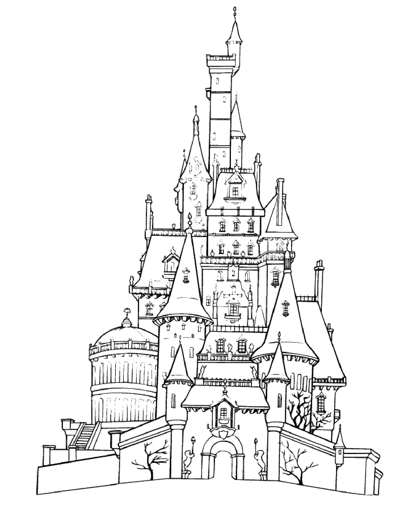 Cinderella's Castle coloring #3, Download drawings