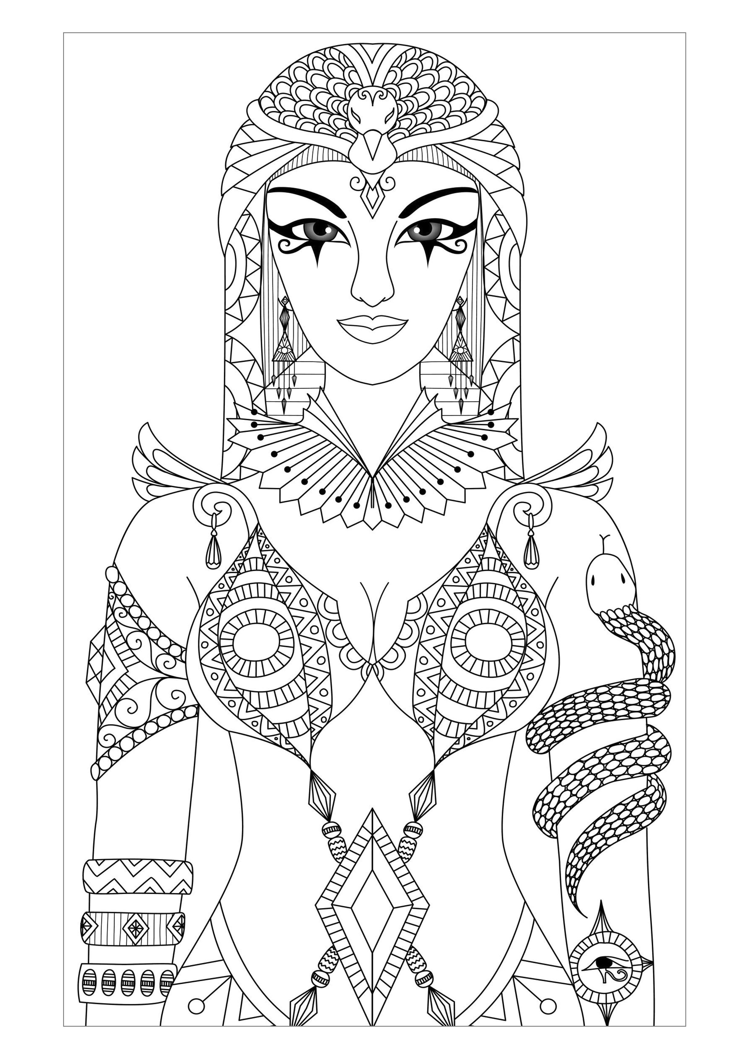Cleopatra coloring #4, Download drawings