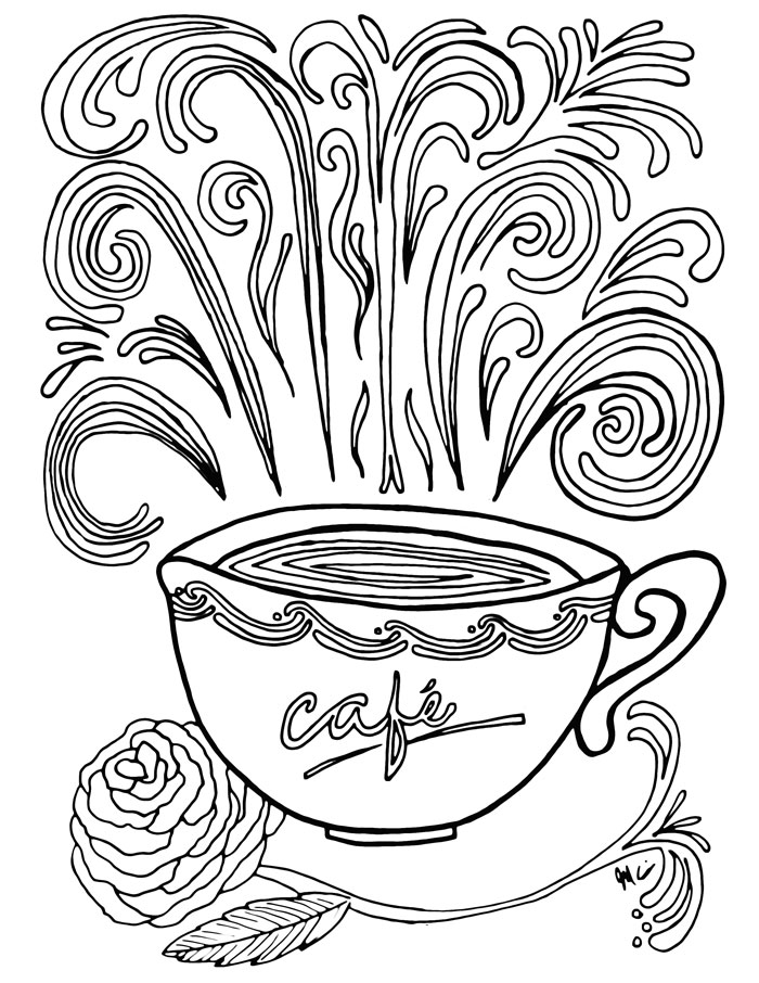 Coffee coloring #3, Download drawings