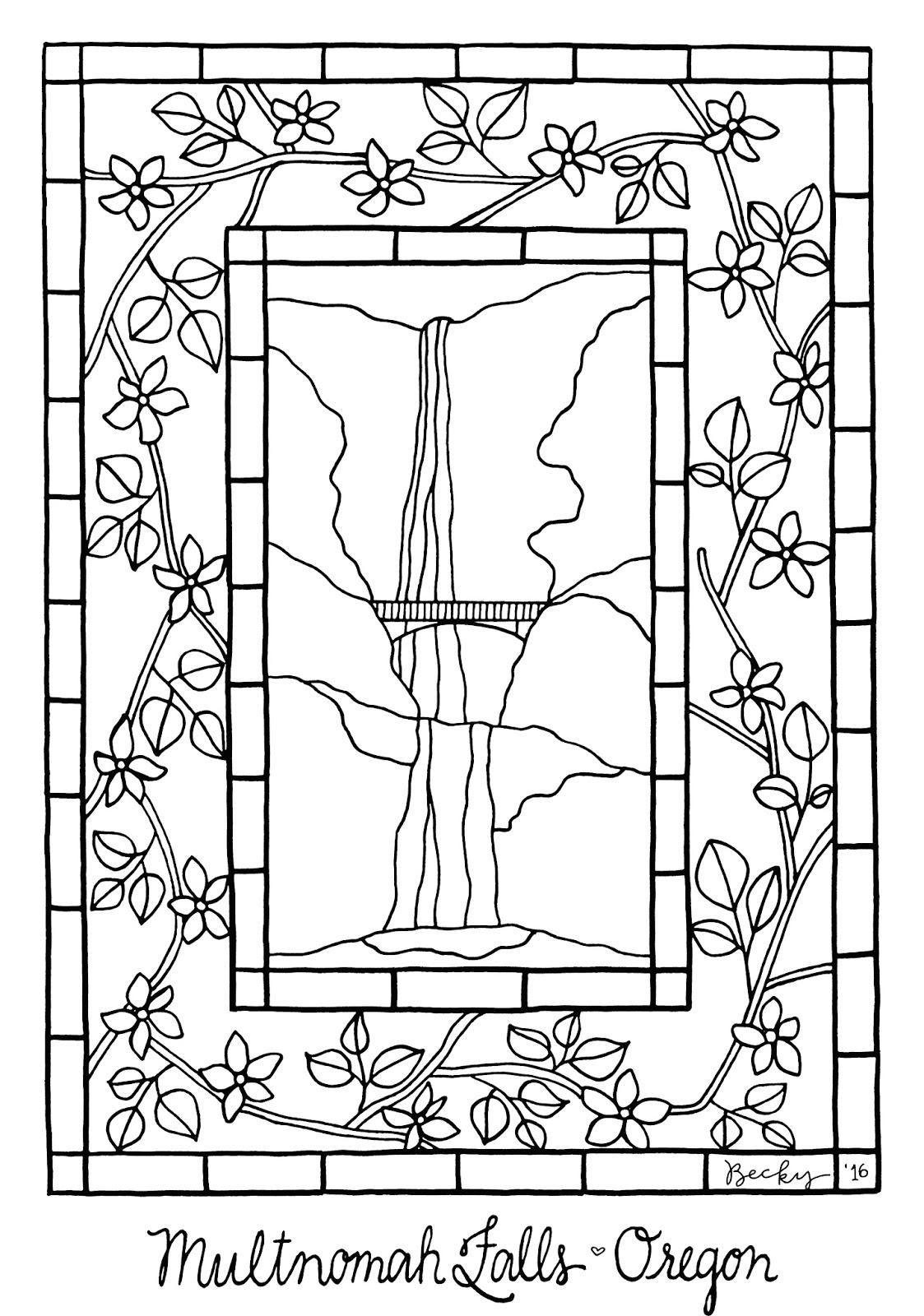 Multnomah Falls coloring #18, Download drawings