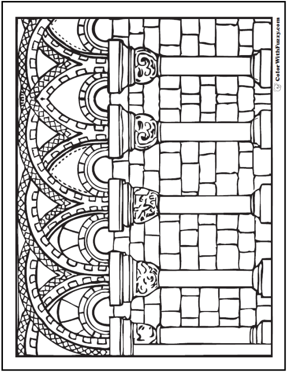 Columns coloring #9, Download drawings