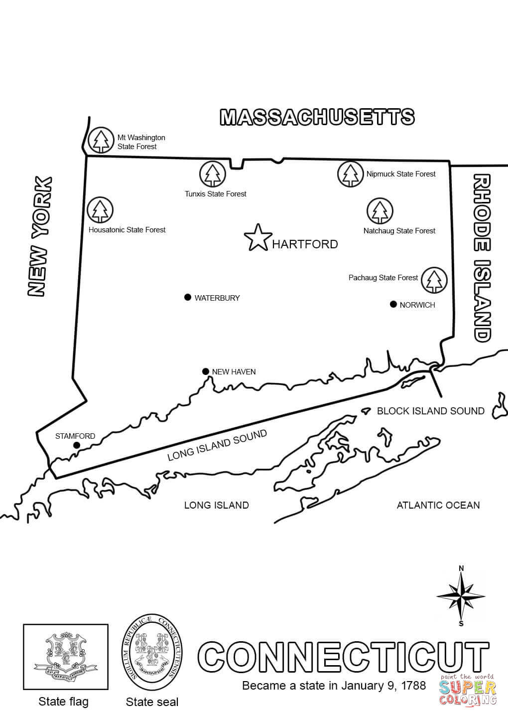 Connecticut coloring #7, Download drawings