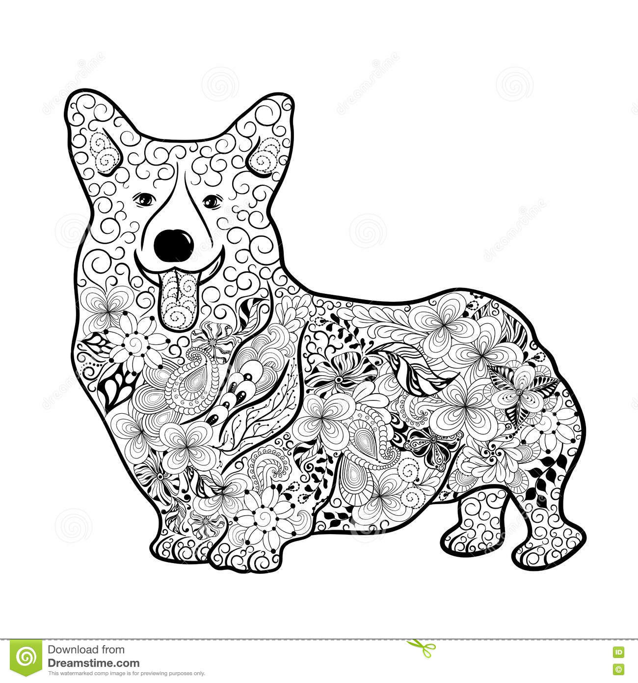 Corgi  coloring #12, Download drawings