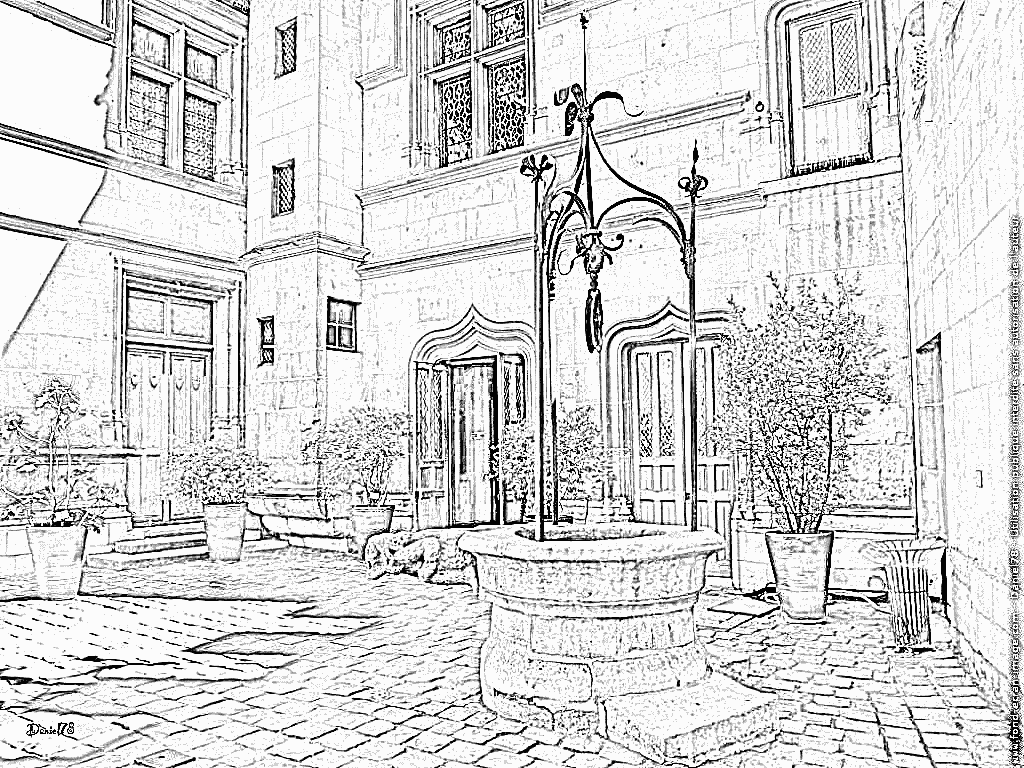 Courtyard coloring #12, Download drawings