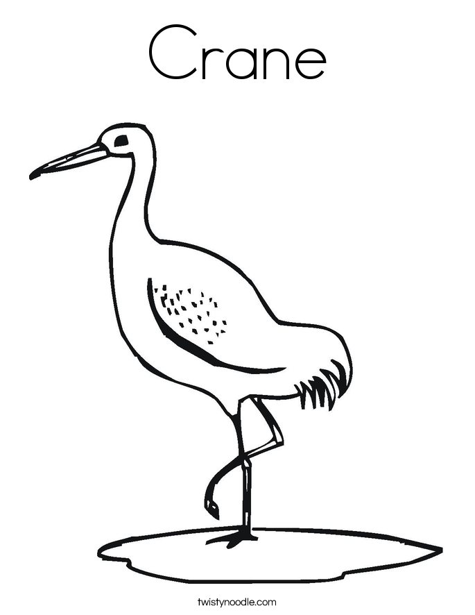 Crane coloring #1, Download drawings