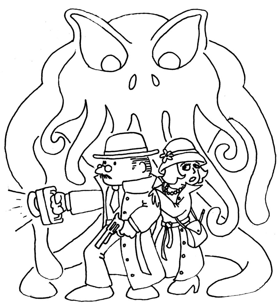 Cthulhu coloring #5, Download drawings