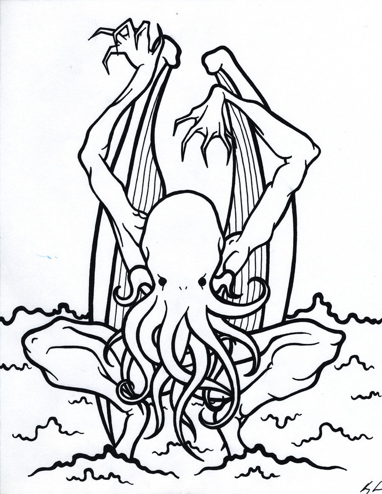 Cthulhu coloring #16, Download drawings