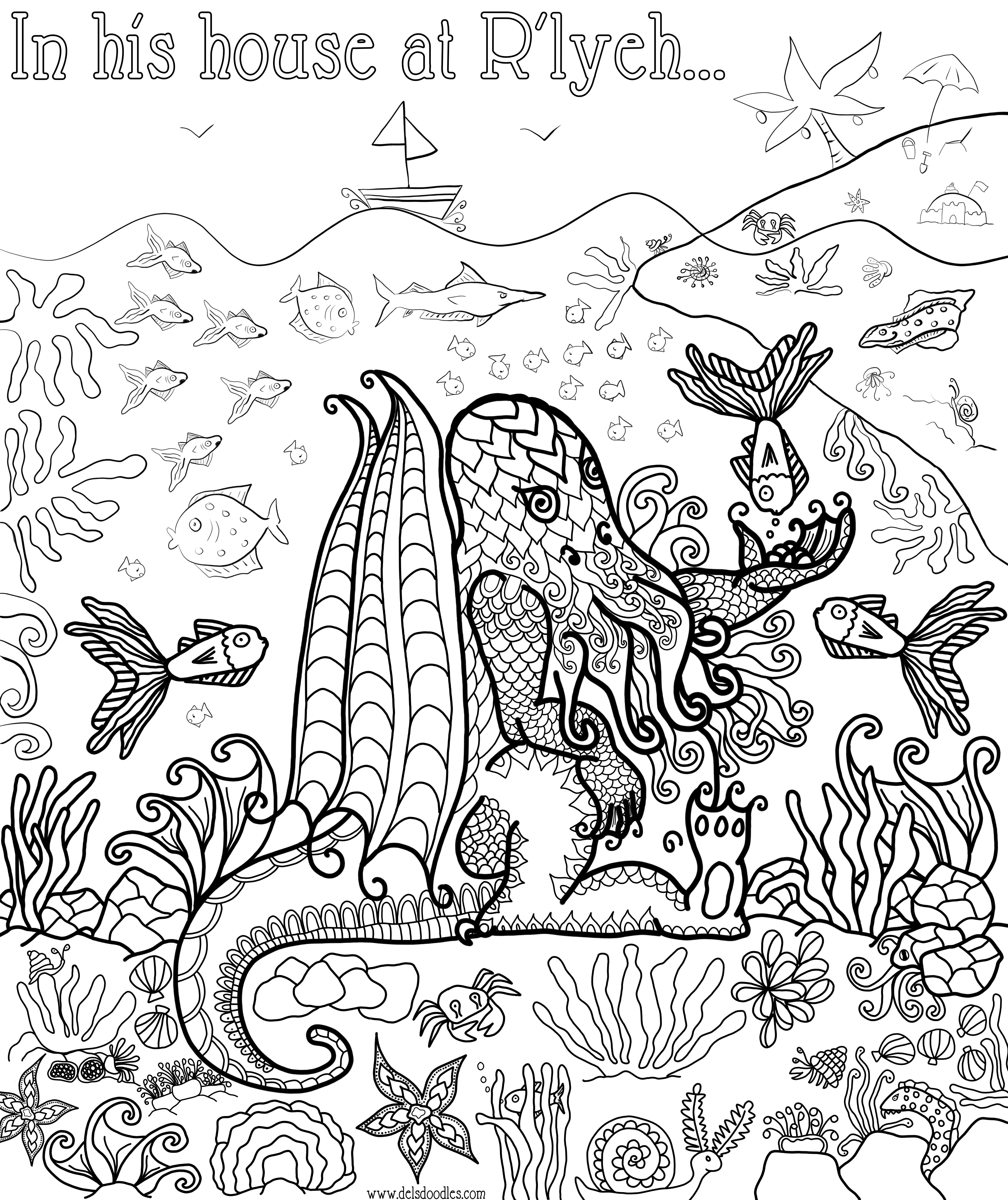 Cthulhu coloring #1, Download drawings