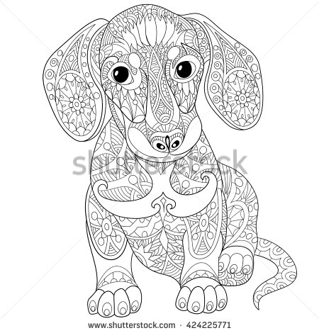 Dachshund coloring #3, Download drawings