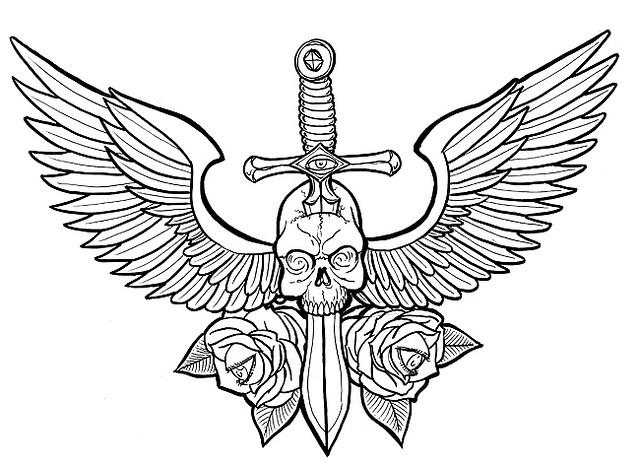Dagger coloring #4, Download drawings