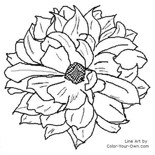 Dahlia coloring #5, Download drawings