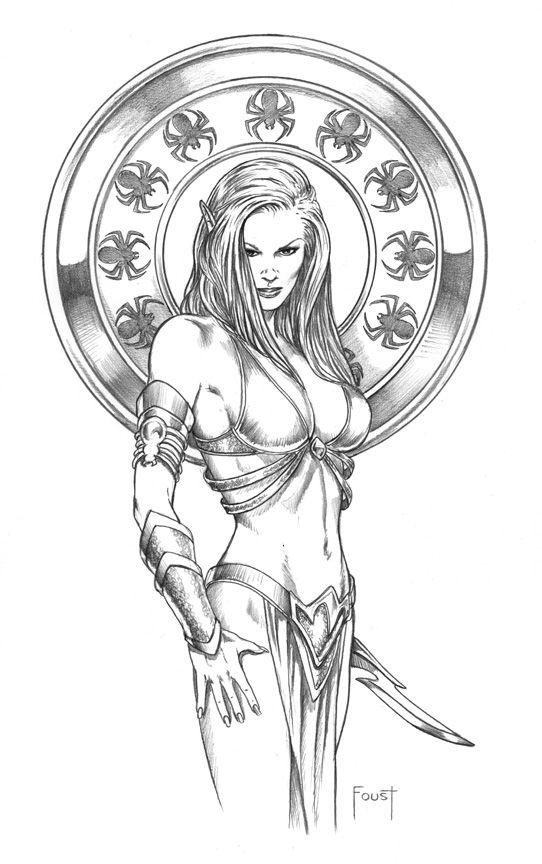 Dark Elf coloring #8, Download drawings