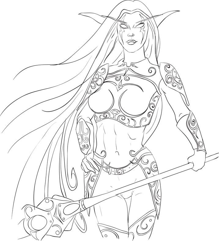 Dark Elf coloring #6, Download drawings