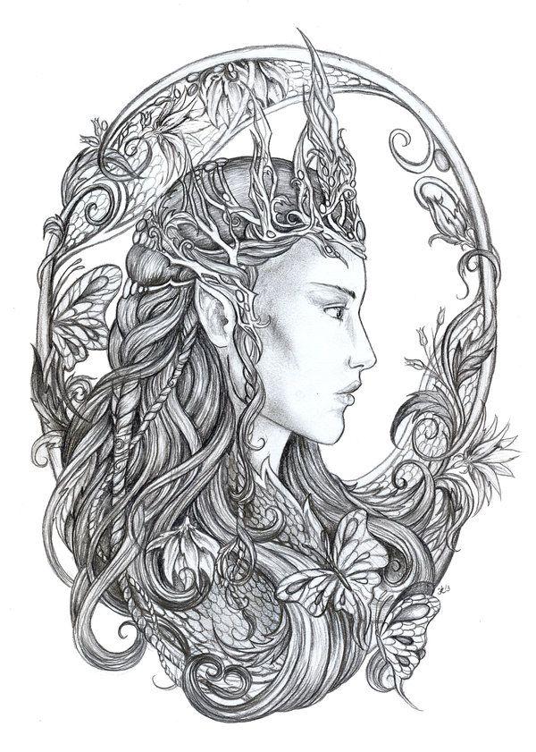 Dark Elf coloring #2, Download drawings
