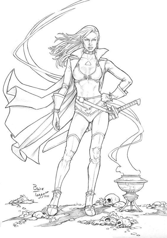 Dark Elf coloring #7, Download drawings