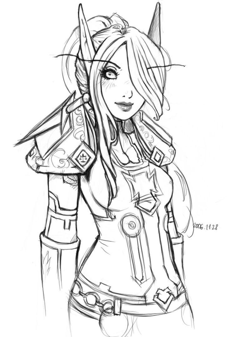 Dark Elf coloring #13, Download drawings