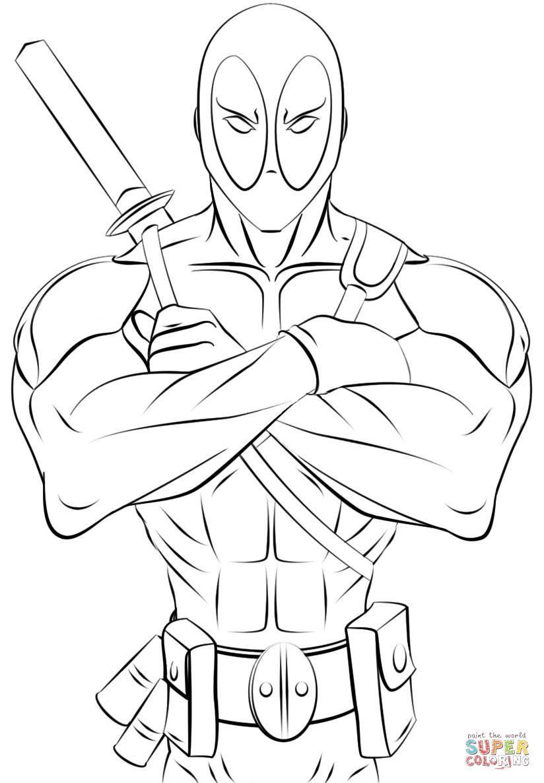 Deadpool coloring #12, Download drawings