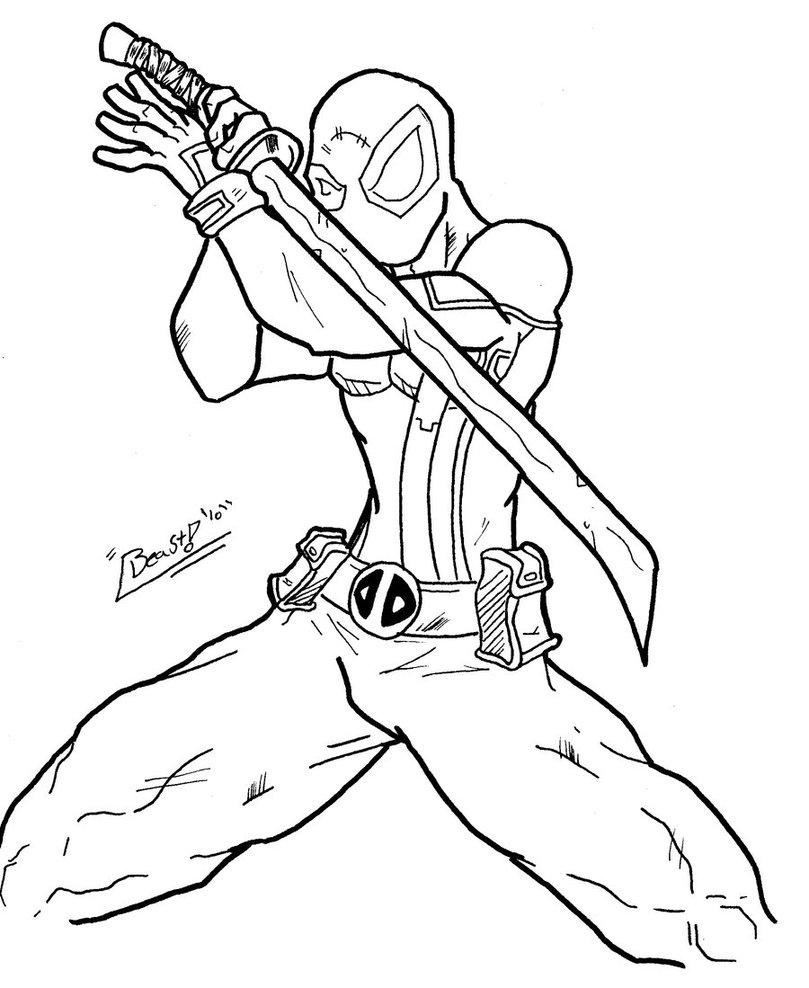Deadpool coloring #10, Download drawings