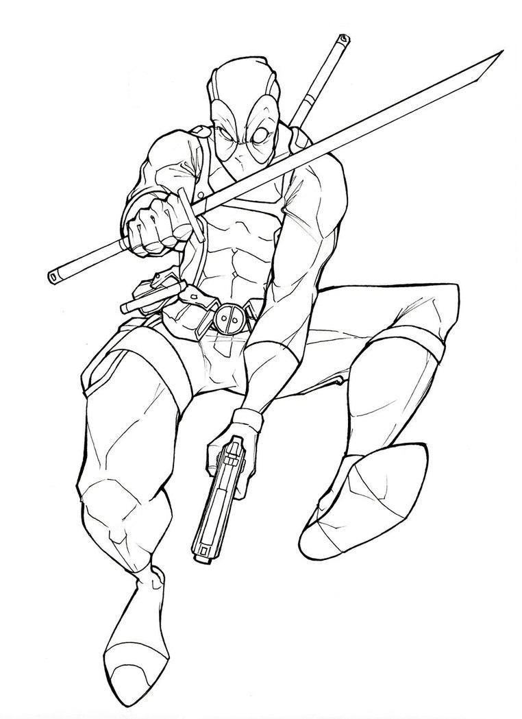Deadpool coloring #9, Download drawings