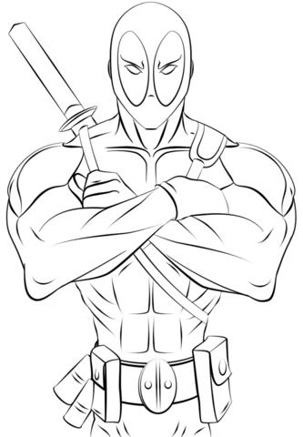 Deadpool coloring #7, Download drawings
