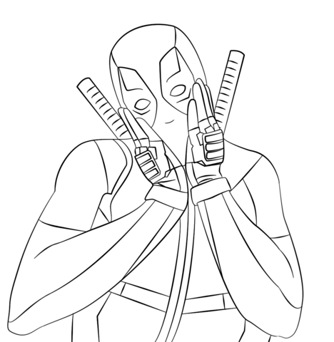 Deadpool coloring #16, Download drawings