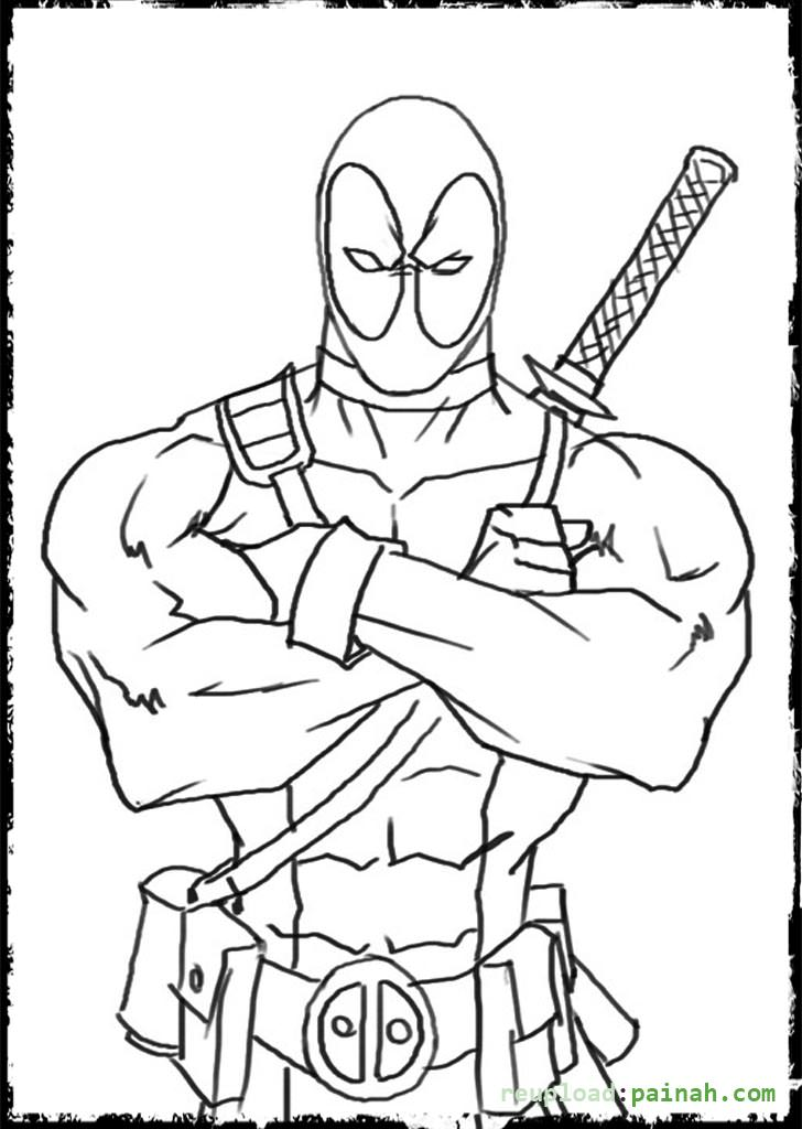 Deadpool coloring #2, Download drawings