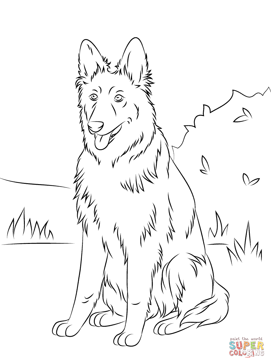 German Shepherd coloring #9, Download drawings