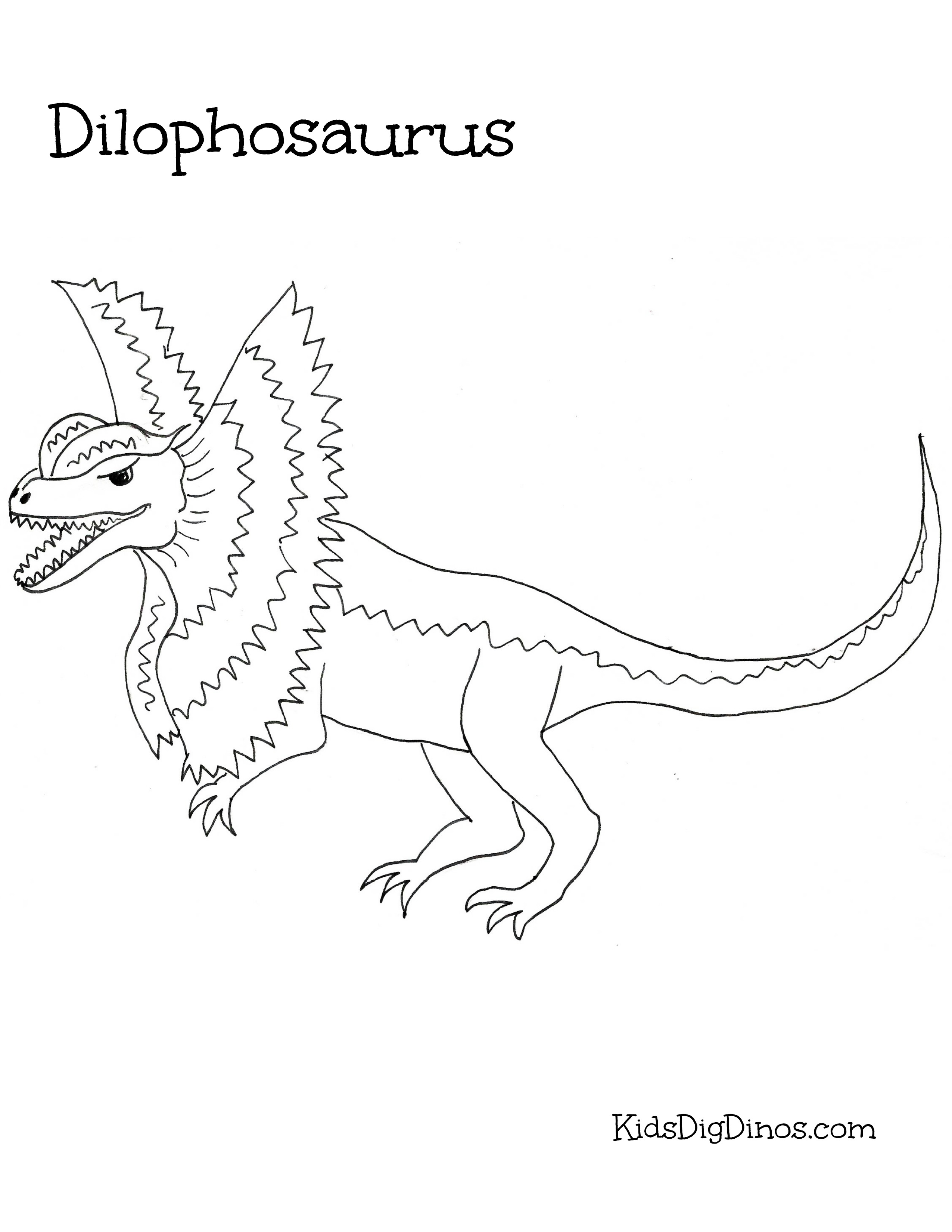 Dilophosaurus coloring #2, Download drawings