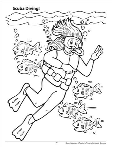 Diving coloring #1, Download drawings