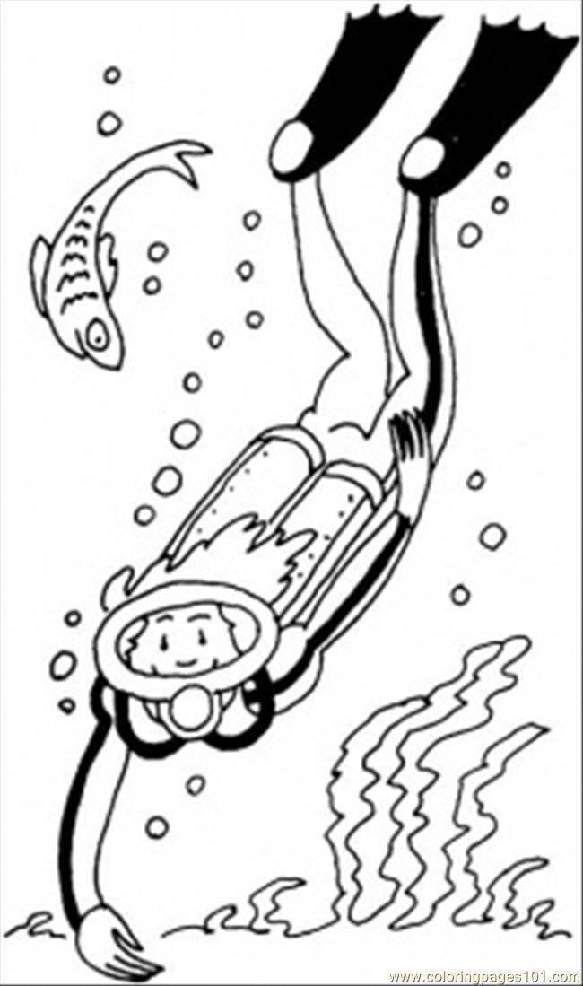 Diver coloring #3, Download drawings