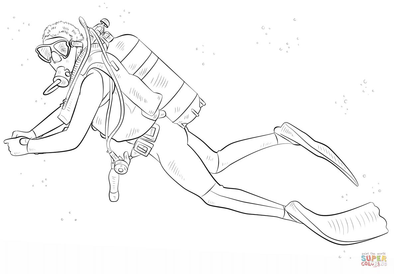 Diver coloring #6, Download drawings