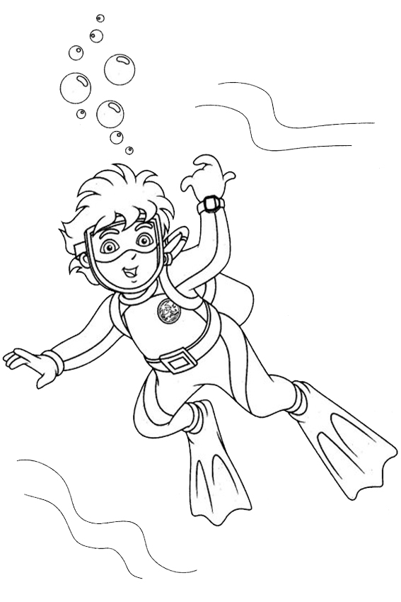 Diver coloring #4, Download drawings