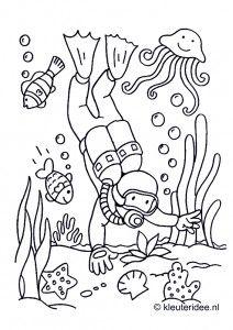 Diver coloring #8, Download drawings