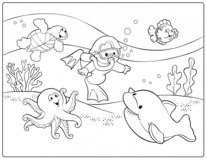 Diver coloring #16, Download drawings