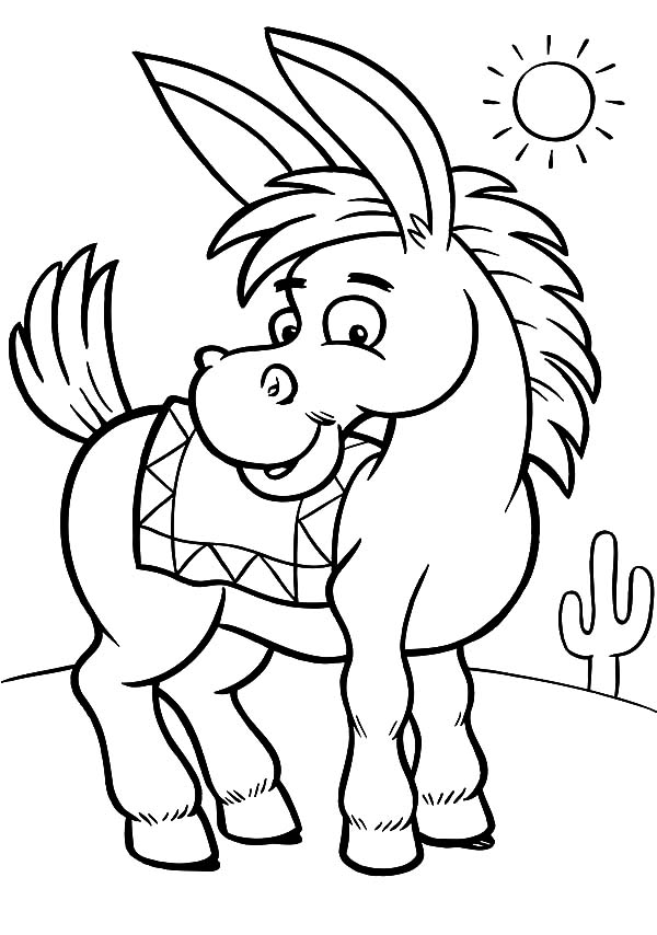 Donkey coloring #5, Download drawings