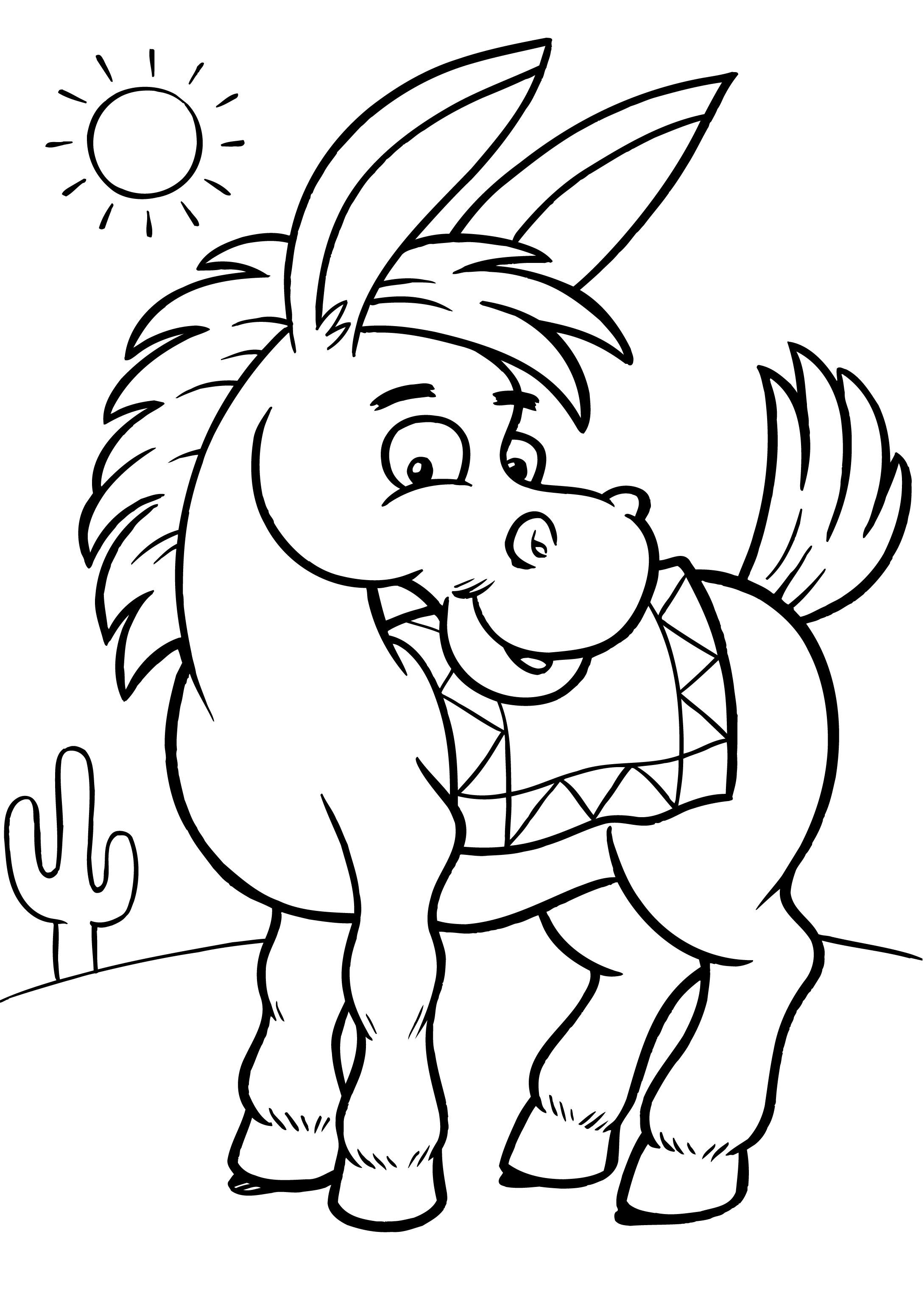 Donkey coloring #6, Download drawings
