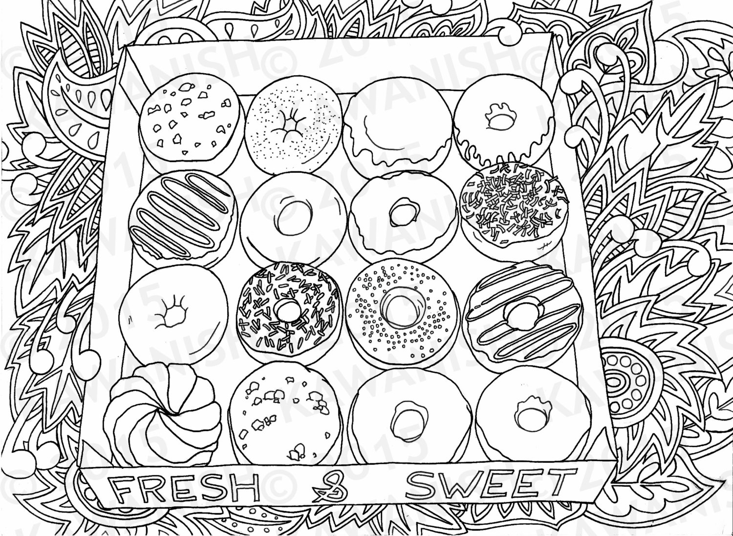 Doughnut coloring #12, Download drawings