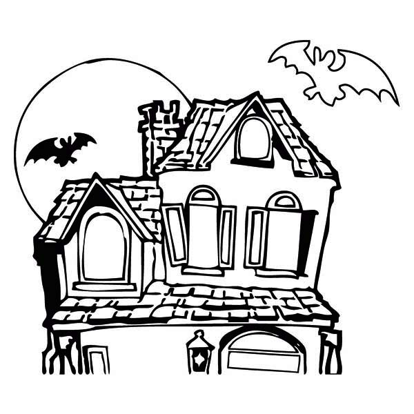 Haunted House coloring #3, Download drawings