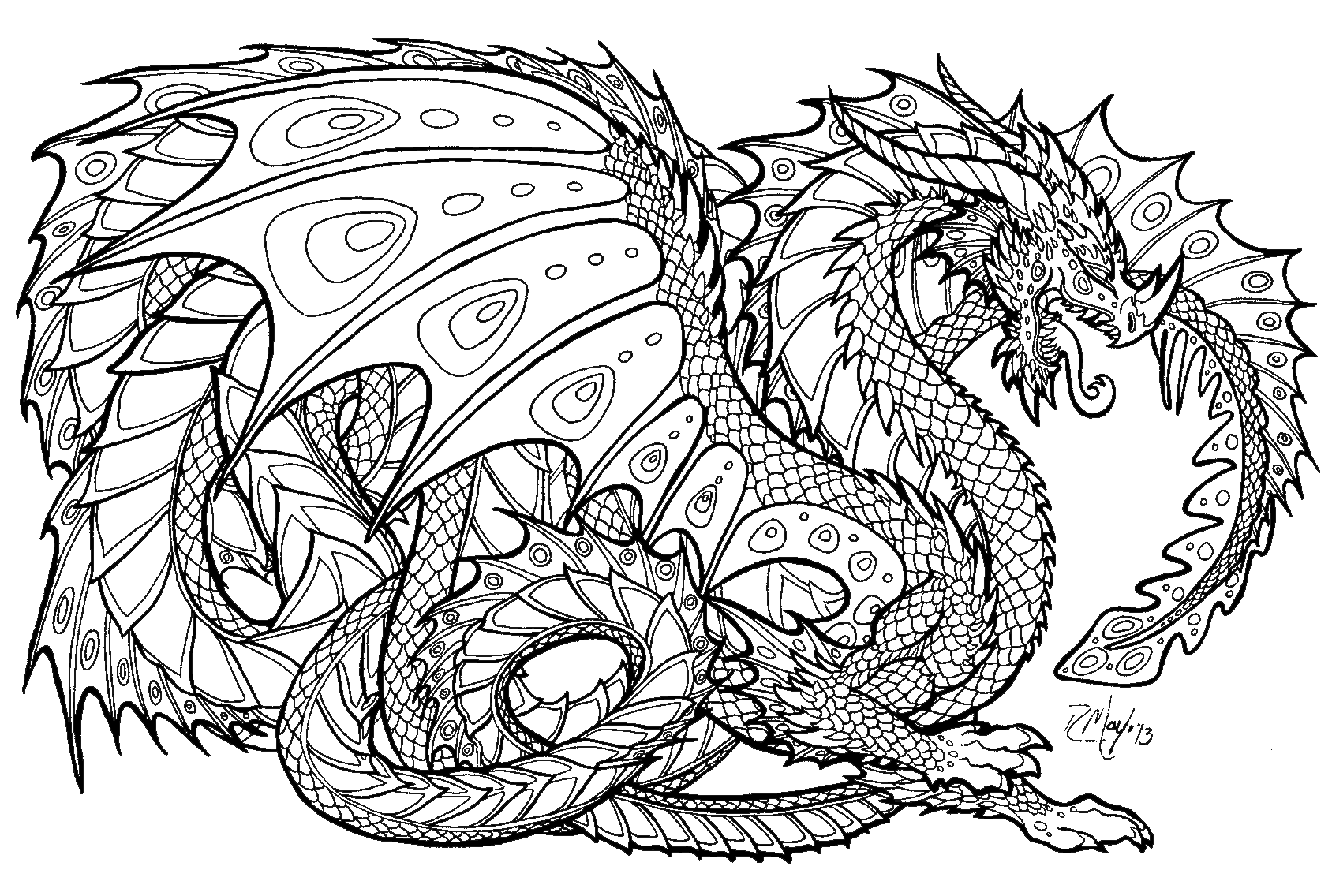 Dragon coloring #8, Download drawings