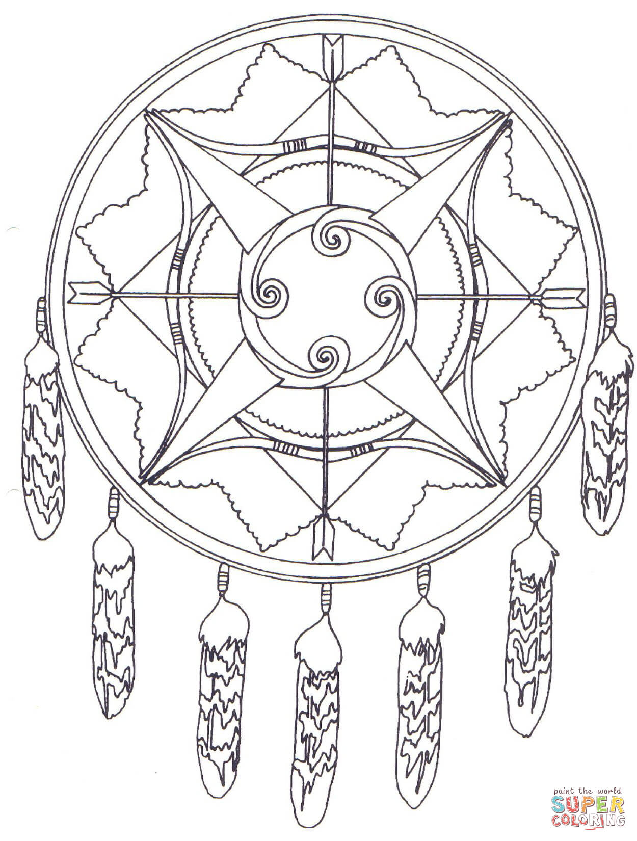 Dreamcatcher coloring #1, Download drawings